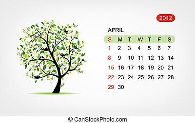 art, arbre, vecteur, conception, 2012, april., calendrier