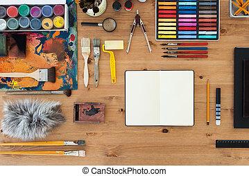art, artiste, sommet bois, drawing., lieu travail, table, ...