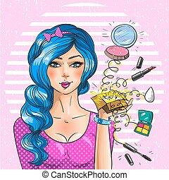 art, artiste, vendange, maquillage, pop, vecteur, illustration