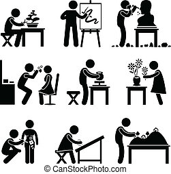 A set of pictogram representing artist doing their artistic work.
