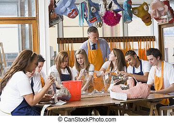 art, autour de, séance, prof, écoliers, table, classe