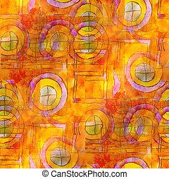 art avant-garde background hand yellow, orange paint ...