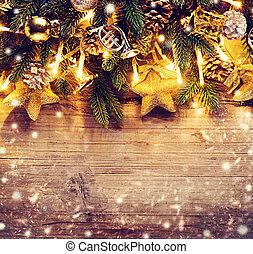 art, babioles, guirlande, lumière, arbre, conception, frontière, noël