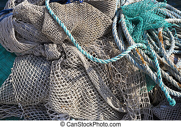 art background, fishing net on the ship