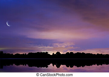 art background sky reflected in water at night - background ...