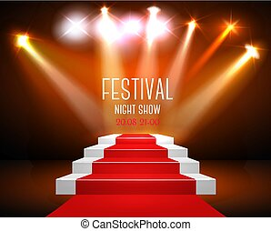 Art Background With A Red Carpet and Spotlight. Festival show poster. Vector.