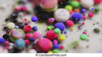 Art, Backgrounds Textures. Abstract macro video of colored bubbles.