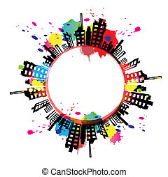 art banner urban design with ink splash