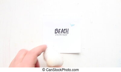art Beach vacation concept, text and seashell