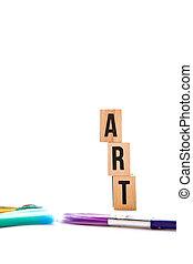 Art - blocks and brushes on white background