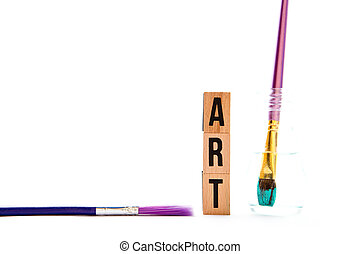 Art - blocks and brushes with white background