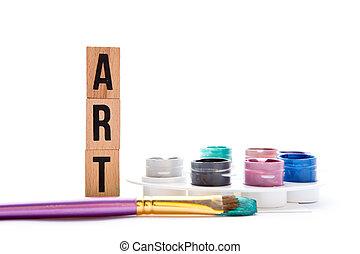 Art - blocks, brush and palette on white background