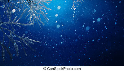 art blue Christmas background; Snowy Christmas tree branch and snowy sky
