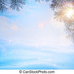 art Blue Christmas tree; Snowy winter Christmas Landscape