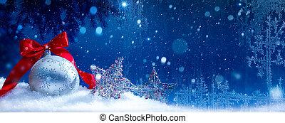 Blue Christmas; Holidays background with Xmas decoration on snow