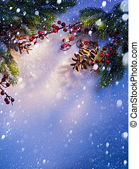 art Blue snow Christmas background, frame ??of fir branches