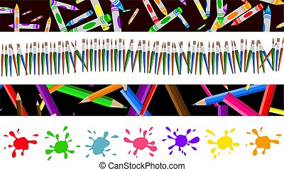 set of four colourful decorative arty page borders and banners