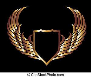 art, bouclier, or, metalic, vecteur, ailes