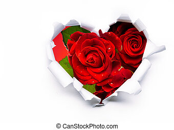 Art bouquet of red roses and the paper hearts on Valentine's Day