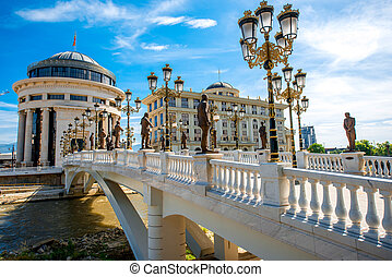 Art bridge in Skopje center the capital of Macedonia