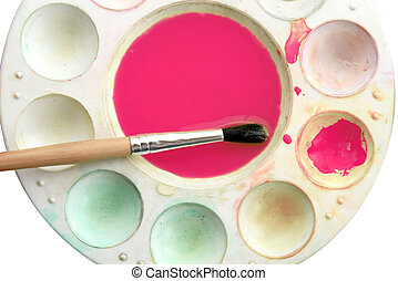 Art brush mixed paint on the palette (close up)