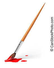art brush with red paint 3d-illustration isolated on white...