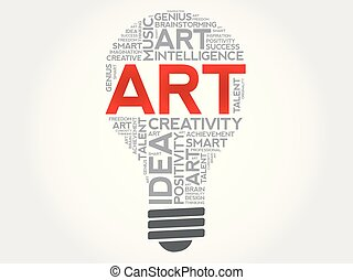ART bulb word cloud collage, creative concept
