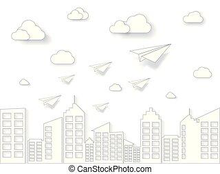 art, business, nature, avion, concept., voler, ciel, illustration, papier, nuage, direction, blanc, style., paysage, bâtiment.