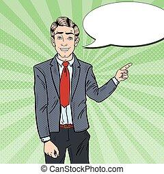 art, business, pointage, presentation., space., pop, vecteur, illustration, homme, copie, doigt