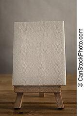 Art Canvas Easel in Portrait Orientation on Wood Plank Floor
