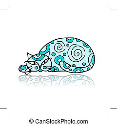 Art cat with floral ornament for your design. Vector...