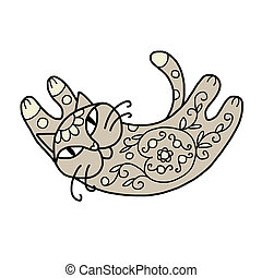 Art cat with floral ornament for your design