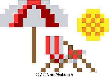 art, chaise, pont, jeu, vidéo, 8, morceau, plage, pixel, icône