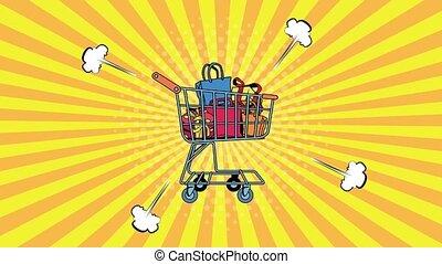 art, charrette, sacs, animation, achats, style, pop