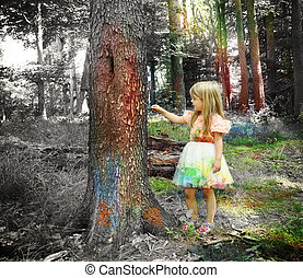 Art Child Painting Black and White Forest