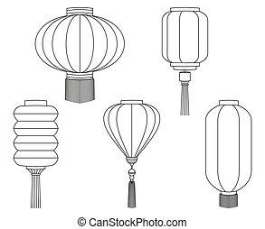 art, chinois, collection, noir, ligne, blanc, lanterne