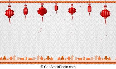 art, chinois, espace, en mouvement, arrière-plan rouge, copie, frontière, boucle, lanterne