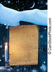 Art Christmas and New Year background old paper scroll