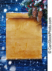 art Christmas background, snow covered paper scroll - ...