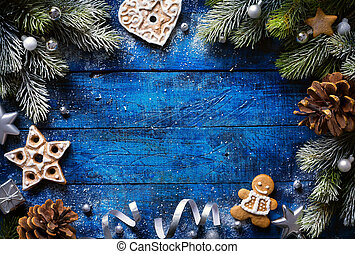 art Christmas background with christmas cookies and festive decoration
