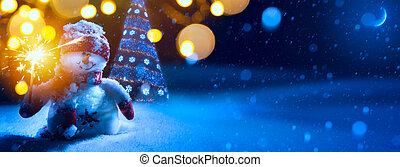 Art Christmas background with Christmas tree and snowman