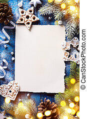 art Christmas background with fir tree branches and holidays...