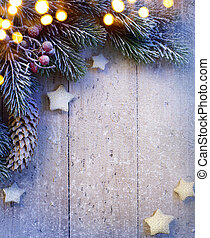 art Christmas background with fir twigs and golden stars -...