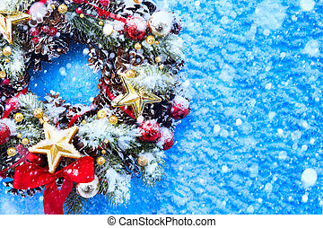 art Christmas background with fir twigs and golden stars