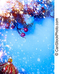 Art Christmas background with fir twigs on snow