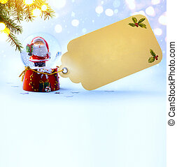 art christmas decoration; holiday composition with Santa on snow background