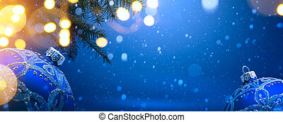 art christmas decoration on blue snow background