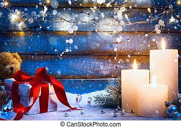 art Christmas festive background with Christmas light and gift box