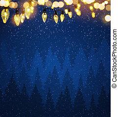 art christmas garland bokeh lights over blue night background