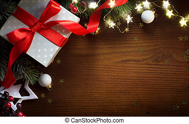 art Christmas Gift With Ornament On Table ; Christmas greeting card background